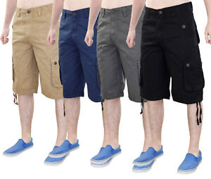 Mens-True-Face-Casual-Cotton-Chino-Cargo-Combat-Zip-Shorts