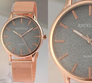 Damen-Armbanduhr-Schwarz-Rose-Edelstahlarmband-Meshband-von-Excellanc-130-007
