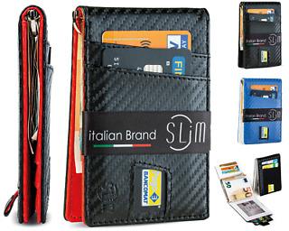 Portafoglio uomo porta carte di credito slim piccolo portatessere rfid