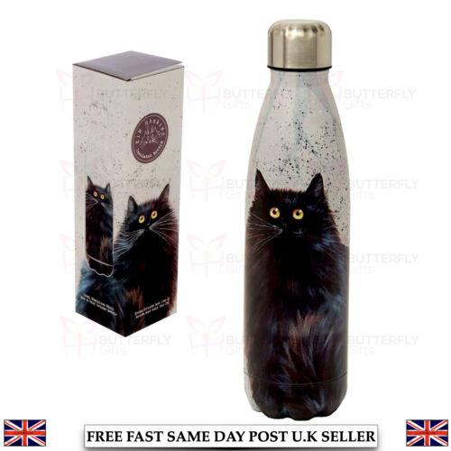 POPPY SKULL ROSES SIMON CAT STAINLESS STEEL HOT COLD 500ML DRINKS BOTTLE FLASK