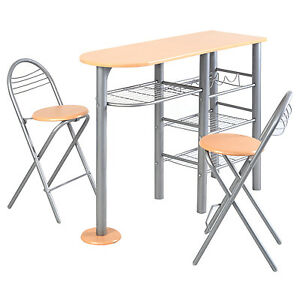 Pub Dining Set Counter Height 3 PCS Table And Chairs Set Breakfast