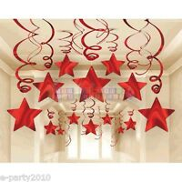 Red Shooting Stars Foil Swirl Decorations (30) Birthday Party Supplies Hanging