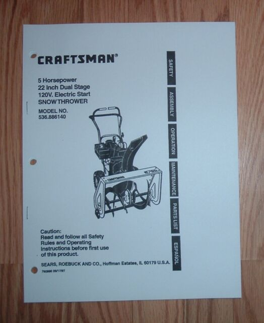 craftsman 536 886260 snow thrower owners manual with illustrated rh ebay com Sears Snow Blowers Used Sears Snow Blowers Used