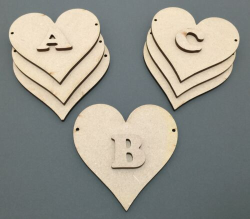 D16 1x 100mm Heart Bunting /& 1x Letter Craft Shapes Blanks Laser Cut MDF Hanging