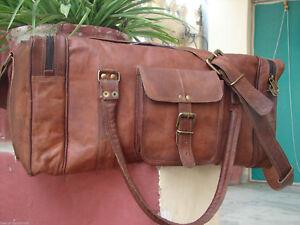cd13d1df21 24 Genuine Brown Leather Large Vintage Duffel Travel Gym weekender ...