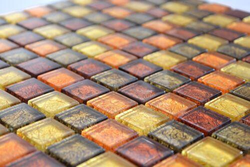 Carreaux Mosaïque Miroir structure or orange marron Glasmosaik wb120-74141 de coffre