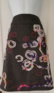 Womens White Stuff Wool Blend Floral Trim Embroidered Grey Lined Skirt Size 14.