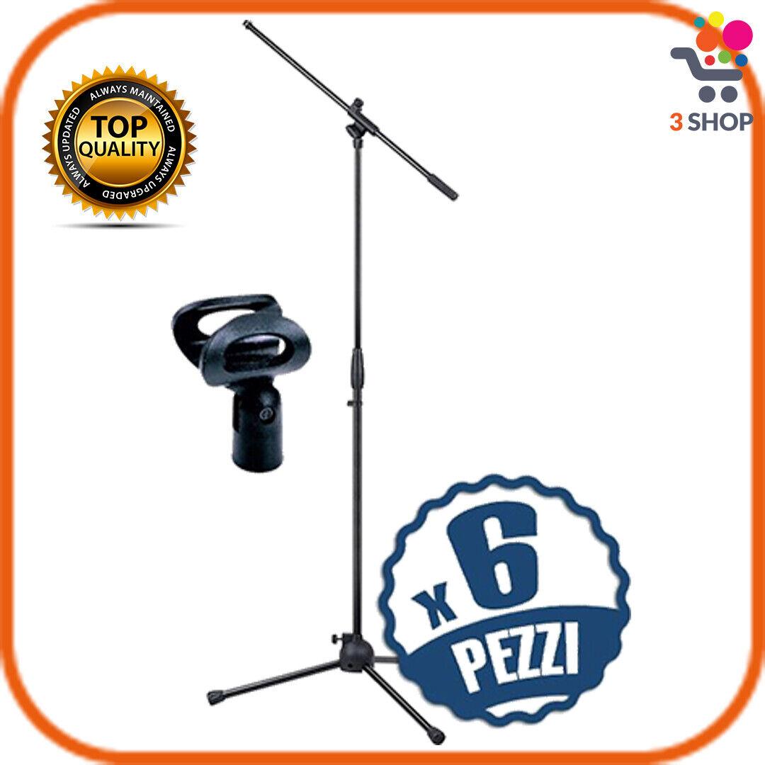Set 6 Aste microfoniche per microfono professionale con supporto regolabile