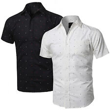 NE People Men/'s Casual Short Sleeve Button Down Oxford Shirts NEMT8002