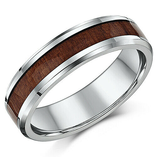 6mm Men/'s Wedding Ring Titanium and Genuine Wood Grained Inlay Wedding Band