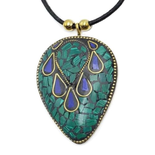 Brass Pendant Necklace Tibetan Bajalia Turquoise Coral Mosaic Wholesale NK7542