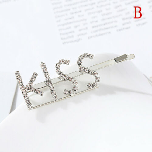 Women/'s Girls Rhinestone Hair Clip Crystal Letters Hair Pin Slide Grips  ZJP