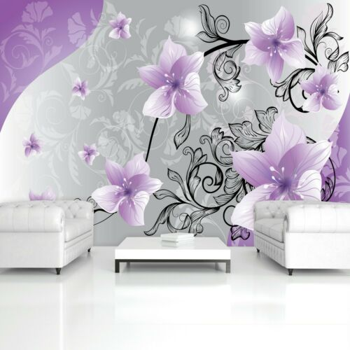 Vlies Fototapete Blumen 3D Lila Kunst Orchidee Ornamente Schlafzimmer Romantisch