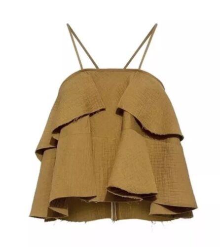 NEW $348 Rachel Comey Euphoraa Tank Top Tiered Blouse Size 8 Gold