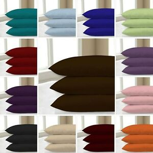 2-x-Luxury-Plain-Dyed-68-Pick-Poly-Cotton-Housewife-Pillow-Case-Cases-Pair-Pack