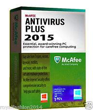 2015 McAfee Anti Virus Software Plus 1-PC - 1 YEAR Easy Download Version RRP £19