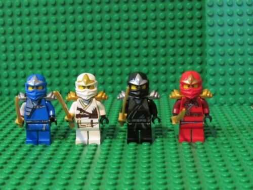 Set of 4 LEGO NINJAGO ZX Minifigures Jay Kai Cole Zane Black Red Ninjas Lot N2