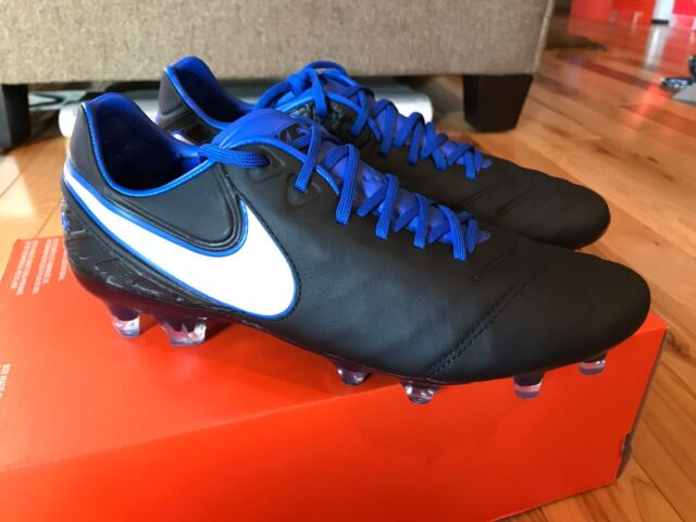 low priced 32f43 07f2d NIKE TIEMPO LEGEND VI FG BLACK WHITE GAME ROYAL 819177-014 MEN S SIZE 8