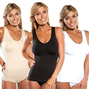 0a17625db1 Plus Size Women Tank Top Camisole Body Shaper Removable Pads Genie ...
