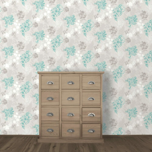 Muriva Mila Floral Chocolate and Teal Designer Luxury Wallpaper 140501-B