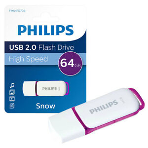 NEW 64GB Philips Snow Series USB 2.0 Flash Key Drive USB Memory Stick 64GB 696571017099