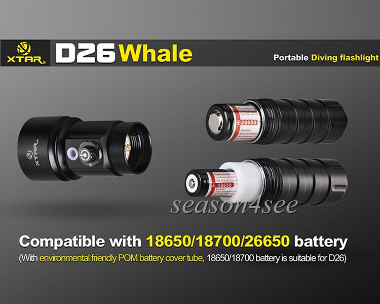 XTAR D26 Diving Flashlight Sea Sea Sea Vision Safe CREE XM-L2 U3 LED 18650/18700/26650 f7a985