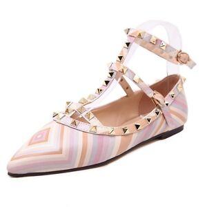 New Fashion Casual Women Pointed Toe Rivet Flat Bottom Shoes Women ... 8fba70e1cb14