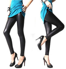 Women Footless Liquid Wet Look Shiny Slim Stretch Leggings/Faux Leather Legging