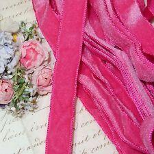 """5/8"""" DARK PINK OSTRICH VELVET RIBBON SATIN BACK FRENCH FLOWR WEDDING Boho Choke"""