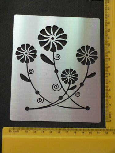 petunia//emboss flower//floral//daisy stencil//oblong//ornate Stainless//steel//metal