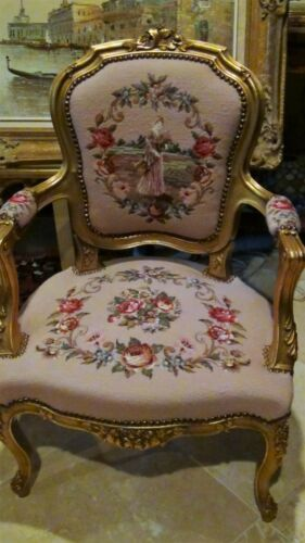 PAIR VINTAGE LOUIS XV STYLE UPHOLSTERED TAPESTRY,PADDED ARM RESTS ARMCHAIRS
