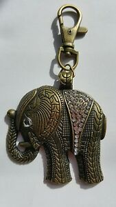BRONZE-AFRICAN-ASIAN-LUCKY-ELEPHANT-BLING-KEY-RING-ART-DECO-ROCKABILLY-BOHO