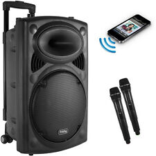 Portable Rechargeable Karaoke Bluetooth Party Speaker w/ 2 MIC FM-Radio USB