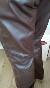 Danier-Women-039-s-Chocolate-Brown-Soft-Italian-Leather-Pants-nice-condition