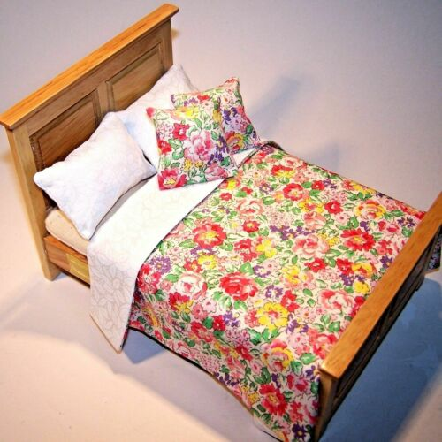 """Dolls House Bedding Set 1//12 Handmade-Large 5.5/""""-6.5/"""" Wide Bed size NEW Patts"""