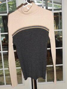 d3bbcba2 Women's Zara Wool Blend Beige & Gray Color Blocking Turtle Neck ...