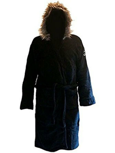Black Hooded Fleece Parka Style Dressing Gown Robe