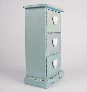 Petit-commode-c-ur-bleu-vert-tableau-kommode-rustique-shabby-Vanite-Commode