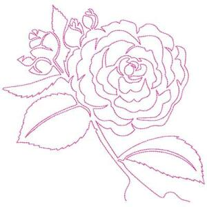 Continuous Line Camellia 10 Machine Embroidery Designs Cd In 9 Sizes