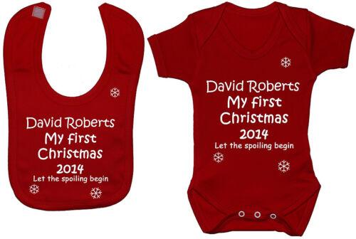 Personalised My First Christmas /& Year Baby Bodysuit Romper /& Feeding Bib Gift
