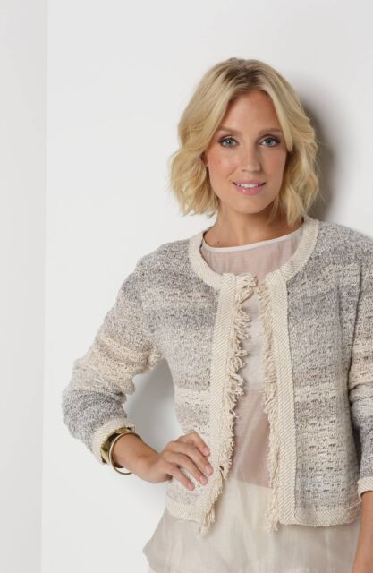 Nic + Zoe Expedition Open Cardi, Beige-Neutral Combo, Size L, New $188