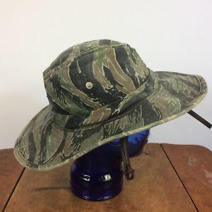 c1bd7fb124e Vintage Vietnam War Tiger Stripe Camo Boonie Bucket Hat Cap Special ...