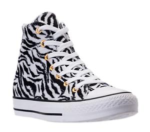 Womens Converse animal zebra White tiger High Top Black White zebra Gold 159467C Chucks FUR 6c90e9