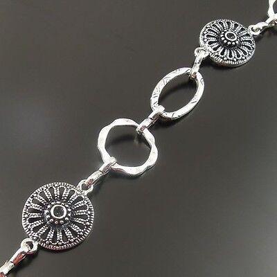 32789 Antique Silver Vintage Alloy Floral Pattern Necklace Bracelet Link Chain1M
