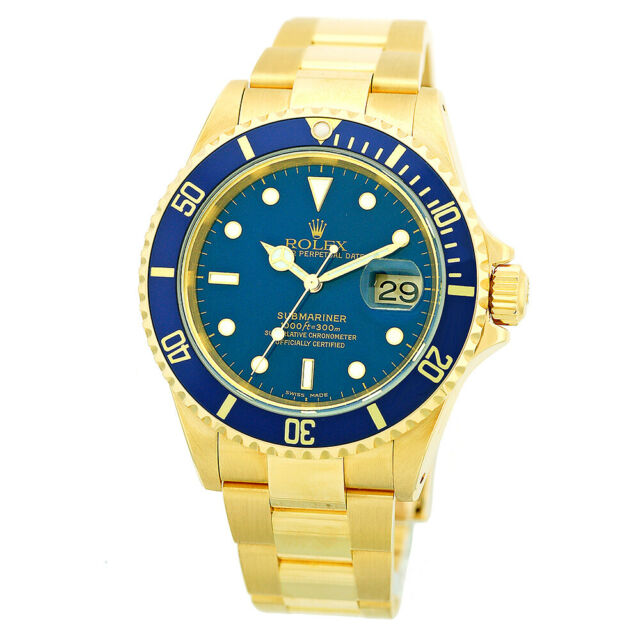 Rolex Submariner 18k Yellow Gold Blue Dial 40mm Mens Watch 16618