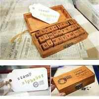 30X Retro Creative Craft Wooden Box Alphabet Letter Number Rubber Stamp Set