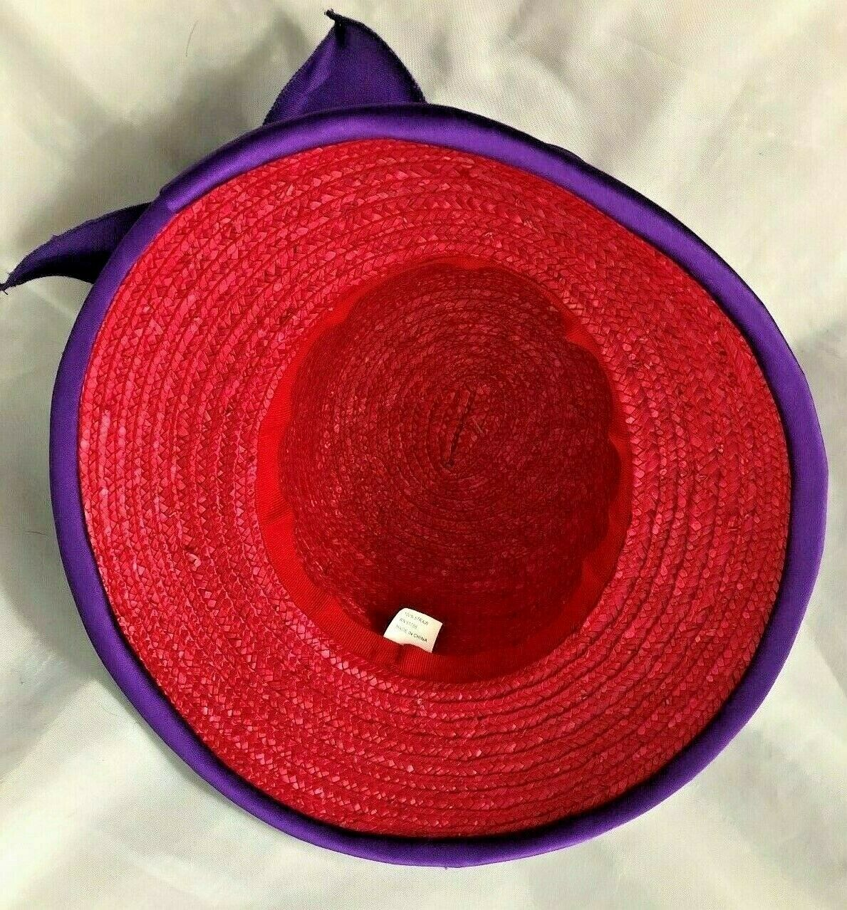"""Red Size 23"""" Straw Hat Cap with Purple Satin Flow… - image 4"""