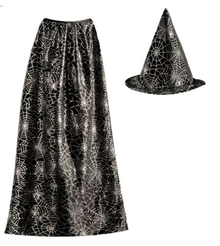 Adults Wizard Spider Web Hat and Cape Set Unisex Fancy Halloween Party Accessory