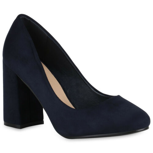 Damen Abiball Klassische Pumps Velours Optik High Heels 819411 Hochzeit Schuhe