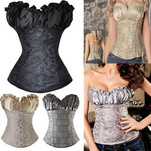 5d02081985 Ladies Sexy Lace Up Boned Waist Training Corset Bustier Top Overbust ...